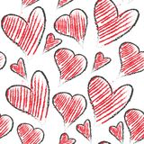 Hand drawn cute heart shapes seamless vector. Pattern Stock Image