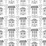 Hand drawn cute houses seamless pattern. Vector doodle background with building and hearts. Wrapping, wallpaper, textile Royalty Free Stock Photography