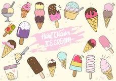 Hand Drawn Cute Ice Cream Set Stock Image