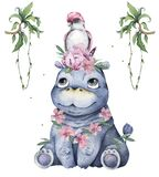 Hand drawn cute isolated tropical summer watercolor hippo animals. Cartoon animal illustrations, pink flowers and leaves, brazil