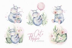 Hand drawn cute isolated tropical summer watercolor hippo animals. hippopotamus baby and mother cartoon animal