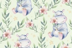 Hand drawn cute isolated tropical summer watercolor hippo animals seamless pattern. hippopotamus baby and mother cartoon