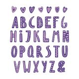 Cute latin alphabet. Hand drawn cute latin alphabet in Scandinavian style with ornate letters in violet and lilac. Make your own lettering. Isolated letters on stock illustration