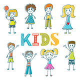 Hand drawn cute little kids. Collection of cartoon happy Royalty Free Stock Photography