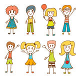 Hand drawn cute little kids. Collection of cartoon happy Royalty Free Stock Photo