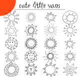 Hand drawn cute little suns. Doodle set Stock Photo