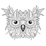 Hand drawn cute owl portrait for adult coloring. Hand drawn high detailed owl head for adult coloring page. Isolated sketch with zentangle illustration Royalty Free Stock Images