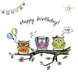 Hand drawn cute owls,happy birthday card,. Stock vector illustration Royalty Free Stock Photo