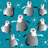 Cute penguins with snowflakes seamless pattern. Vector illustration on blue background Stock Photos