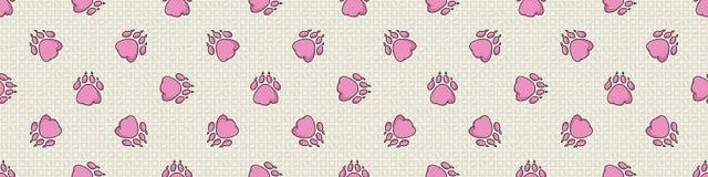 Hand drawn cute pink puppy dog paw with claw seamless vector border. Wild animal paw pad background. Fun joyful wild