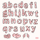 Hand drawn cute pink and white dot letters Royalty Free Stock Images