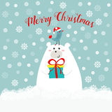 Hand drawn cute polar bear holding gift box kawaii bird in santa clause hat on his head merry christmas text lettering red, blue Stock Photos