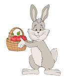 Hand drawn cute rabbit with basket of apples. vector illustratio Royalty Free Stock Images