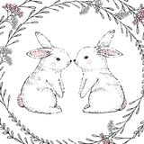 Hand Drawn cute rabbits and floral frame. Vector vector illustration