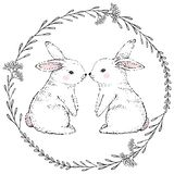 Hand Drawn cute rabbits and floral frame. Vector stock illustration