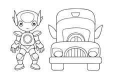 Hand drawn cute robot with car for design element and coloring book page for both kids and adults. Vector illustration Royalty Free Stock Images