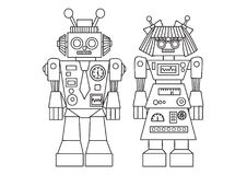 Hand drawn cute robot for design element and coloring book page for both kids and adults. Vector illustration royalty free illustration