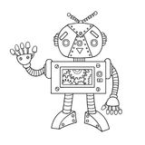 Hand drawn cute robot for design element and coloring book page for both kids and adults. Vector illustration Royalty Free Stock Photos