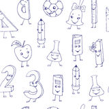Hand drawn cute school characters on a sheet of exercise book. S Stock Photography