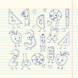 Hand drawn cute school characters on a sheet of exercise book. Stock Images