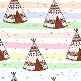 Hand drawn Cute seamless pattern with tee pee wigwam, North American Indian tee pee. Hand drawn Cute seamless pattern with tee pee wigwam, North American Indian Royalty Free Stock Image