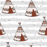 Hand drawn Cute seamless pattern with tee pee wigwam, North American Indian tee pee. Hand drawn Cute seamless pattern with tee pee wigwam, North American Indian Stock Photo