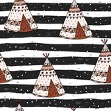 Hand drawn Cute seamless pattern with tee pee wigwam, North American Indian tee pee. Hand drawn Cute seamless pattern with tee pee wigwam, North American Indian Royalty Free Stock Photography