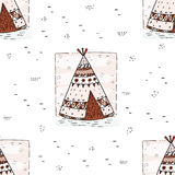 Hand drawn Cute seamless pattern with tee pee wigwam, North American Indian teepee. Hand drawn Cute seamless pattern with tee pee wigwam, North American Indian Royalty Free Stock Photo