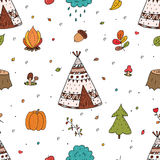 Hand drawn Cute seamless pattern with tee pee wigwam, North American Indian teepee. Hand drawn Cute seamless pattern with tee pee wigwam, North American Indian Stock Photos
