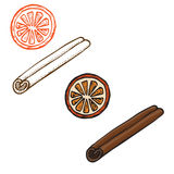 Hand drawn cute set of cinnamon and a slice of orange. Fruit Stock Photography