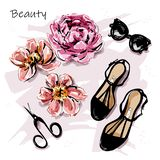 Hand drawn cute set with flowers, sunglasses, shoes and scissors. Beautiful female accessories. Sketch. royalty free stock photography