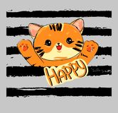 Cute Tiger Vector. Hand Drawn Cute Tiger Vector Illustration, Children Design Print for T-Shirt Royalty Free Stock Images