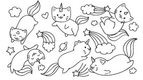 Hand drawn cute unicorn cats flying with stars and clouds for design element and coloring book page for kids or teens. Royalty Free Stock Image
