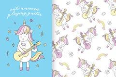 Hand drawn cute unicorn pattern vector illustration