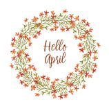 Cute wreath. Hand-drawn cute wreath with spring flowers illustration in vintage watercolor style. Romantic floral design. Hello April Vector Illustration