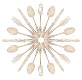 Hand drawn cutlery design set royalty free illustration