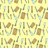Hand drawn cutlery doodle seamless pattern. Stock Image