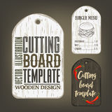 Hand drawn cutting board mockup with usage examples. Royalty Free Stock Images