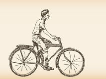 Hand drawn cyclist Stock Images