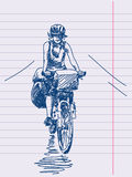 Hand drawn cyclist Stock Photos