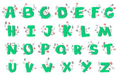 Hand-drawn 3d doodle alphabet, decorated with flowering plants. Vector illustration. Royalty Free Stock Image