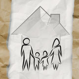 Hand drawn 3d house wtih family icon Stock Image