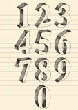 Hand drawn 3d numbers vector set. Royalty Free Stock Photos