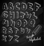 Hand Drawn 3D sketch alphabet Over a chalkboard Royalty Free Stock Photo