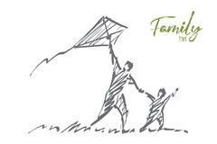 Hand drawn dad and son flying kite with lettering. Vector hand drawn Family time concept sketch. Dad and son flying kite together in summer. Lettering Family Royalty Free Stock Image