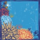 Hand drawn dahlia flowers retro card Royalty Free Stock Image