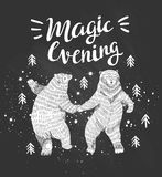 Hand drawn dancing bears in the forest. Vector sketch illustration. Hand drawn dancing bears in the forest. Vector sketch illustration with stylish lettering Be Stock Photos