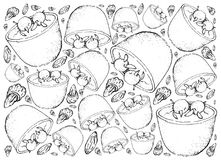 Hand Drawn of Danish Christmas Risalamande or Rice Pudding. Background Hand Drawn Sketch of Ris a la Mande, Risalamande or Rice Pudding Mixed with Whipped Cream Stock Photography