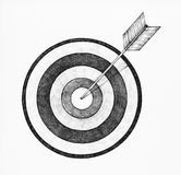 Hand-drawn dartboard and arrow illustration Royalty Free Stock Photography