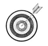 Hand drawn dartboard and arrow illustration Royalty Free Stock Photos